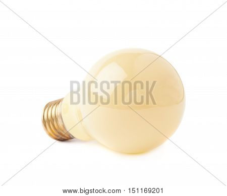 Single electric yellow bulb lying on its side, isolated over the white background