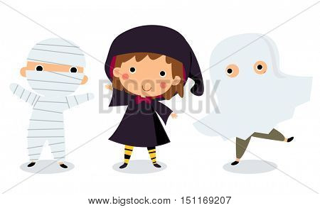 Vector illustration of children in halloween costumes