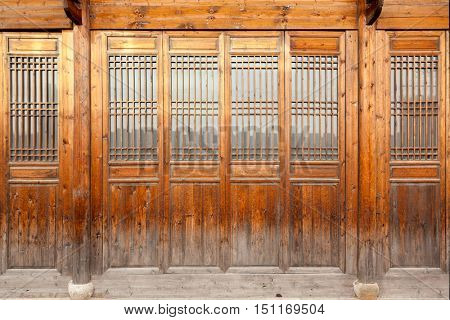 Close up traditional Chinese style wooden door.