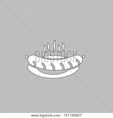 Sausage Simple line vector button. Thin line illustration icon. White outline symbol on grey background