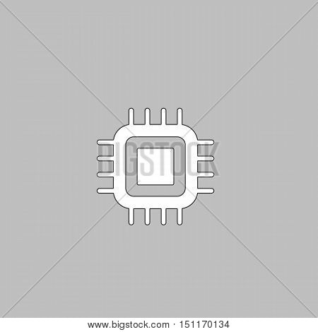 cpu Simple line vector button. Thin line illustration icon. White outline symbol on grey background