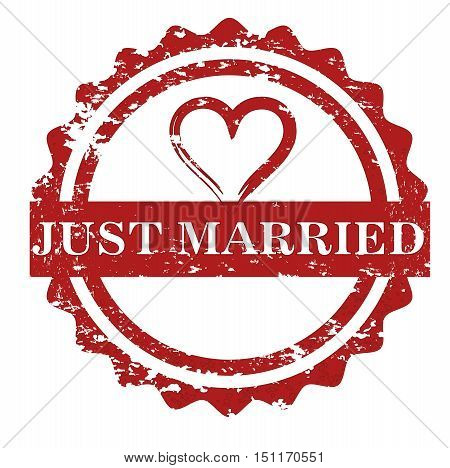 Just married stamp isolated on white background