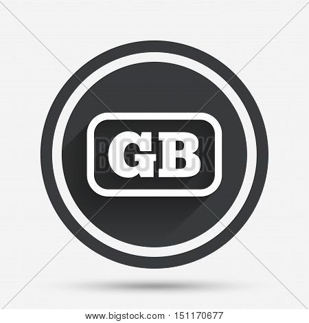 British language sign icon. GB Great Britain translation symbol with frame. Circle flat button with shadow and border. Vector