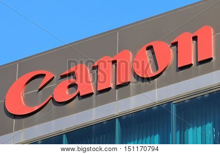 KANAZAWA JAPAN - OCTOBER 7, 2016: Canon company. Canon is a Japanese multinational corporation specialised in camera, photocopier and printers.