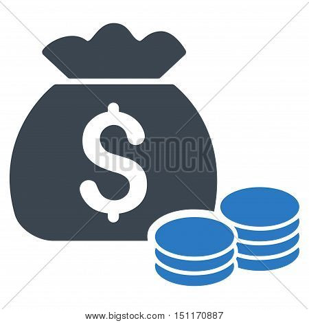 Money Bag icon. Glyph style is bicolor flat iconic symbol with rounded angles, smooth blue colors, white background.
