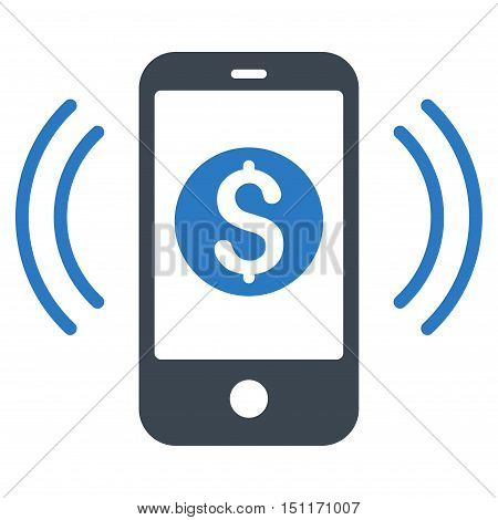 Payment Phone Ring icon. Glyph style is bicolor flat iconic symbol with rounded angles, smooth blue colors, white background.