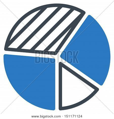 Pie Chart icon. Glyph style is bicolor flat iconic symbol with rounded angles, smooth blue colors, white background.