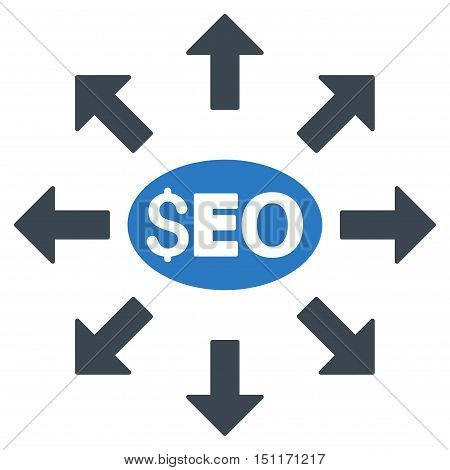 Seo Distribution icon. Glyph style is bicolor flat iconic symbol with rounded angles, smooth blue colors, white background.