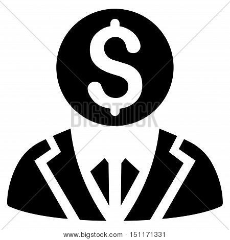 Banker icon. Glyph style is flat iconic symbol with rounded angles, black color, white background.