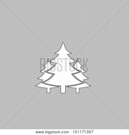 chritmas spruce Simple line vector button. Thin line illustration icon. White outline symbol on grey background