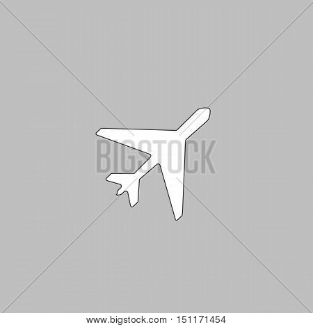 Plane Simple line vector button. Thin line illustration icon. White outline symbol on grey background