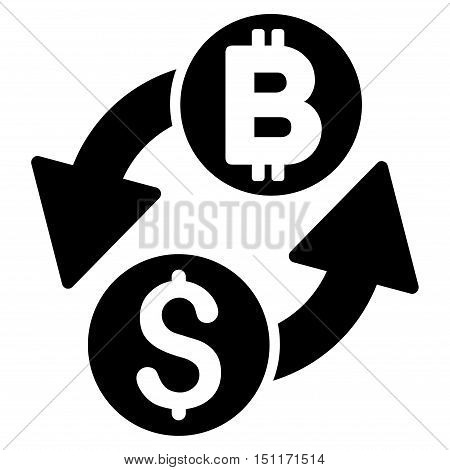 Dollar Bitcoin Exchange icon. Glyph style is flat iconic symbol with rounded angles, black color, white background.