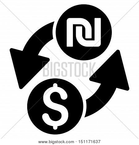 Dollar Shekel Exchange icon. Glyph style is flat iconic symbol with rounded angles, black color, white background.