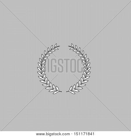 laurel wreath Simple line vector button. Thin line illustration icon. White outline symbol on grey background