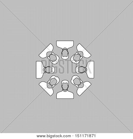 Teamwork Simple line vector button. Thin line illustration icon. White outline symbol on grey background