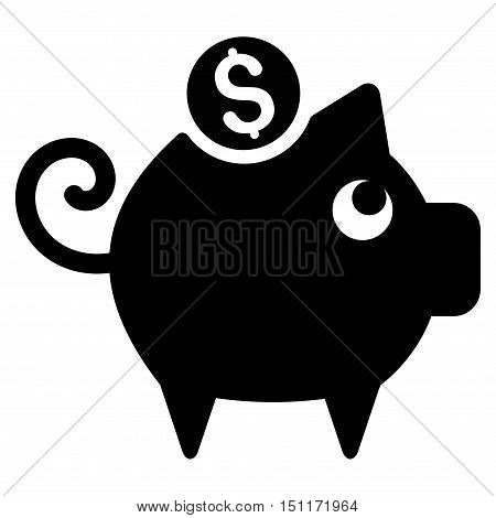 Piggy Bank icon. Glyph style is flat iconic symbol with rounded angles, black color, white background.