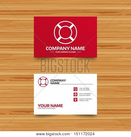 Business card template. Lifebuoy sign icon. Life salvation symbol. Phone, globe and pointer icons. Visiting card design. Vector