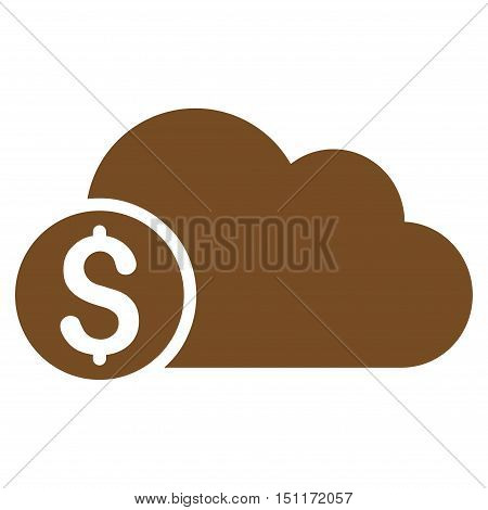 Banking Cloud icon. Glyph style is flat iconic symbol with rounded angles, brown color, white background.