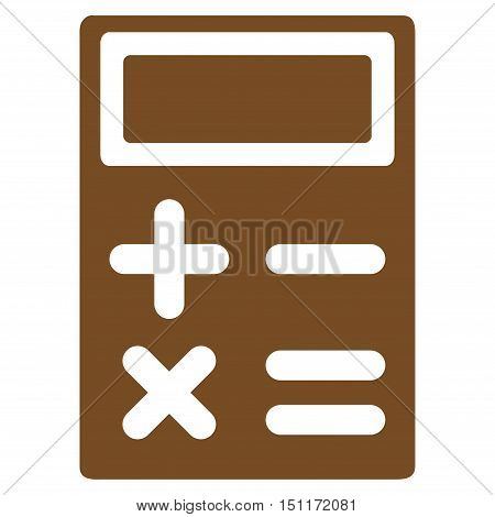 Calculator icon. Glyph style is flat iconic symbol with rounded angles, brown color, white background.