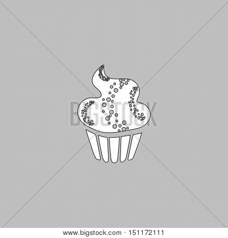 Sweet cupcake Simple line vector button. Thin line illustration icon. White outline symbol on grey background