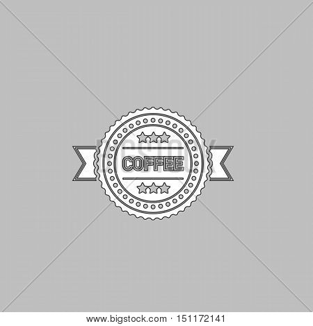 Coffee label Simple line vector button. Thin line illustration icon. White outline symbol on grey background