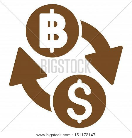 Dollar Baht Exchange icon. Glyph style is flat iconic symbol with rounded angles, brown color, white background.