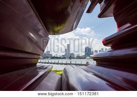 SINGAPORE SEPTEMBER 15, 2016 :- Olympic walk in the Marina Bay.