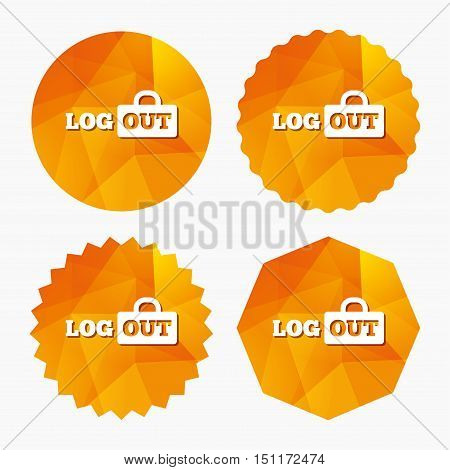 Logout sign icon. Sign out symbol. Lock icon. Triangular low poly buttons with flat icon. Vector