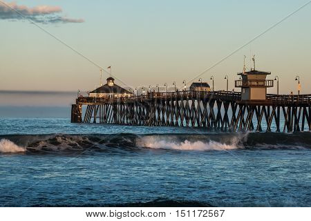 Early morning at the Imperial Beach fishing pier in San Diego, California.