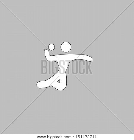 Volleyball Simple line vector button. Thin line illustration icon. White outline symbol on grey background