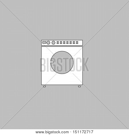 Wash Simple line vector button. Thin line illustration icon. White outline symbol on grey background