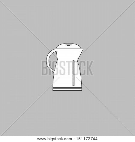 Kettle Simple line vector button. Thin line illustration icon. White outline symbol on grey background