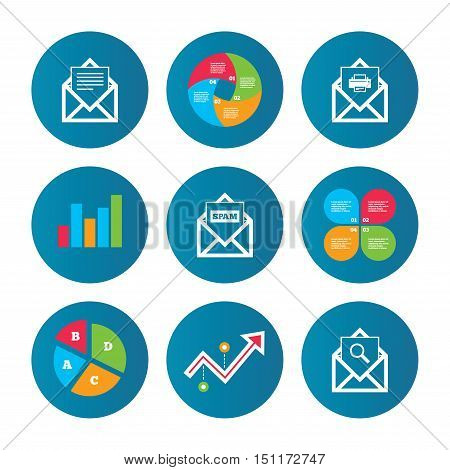 Business pie chart. Growth curve. Presentation buttons. Mail envelope icons. Print message document symbol. Post office letter signs. Spam mails and search message icons. Data analysis. Vector