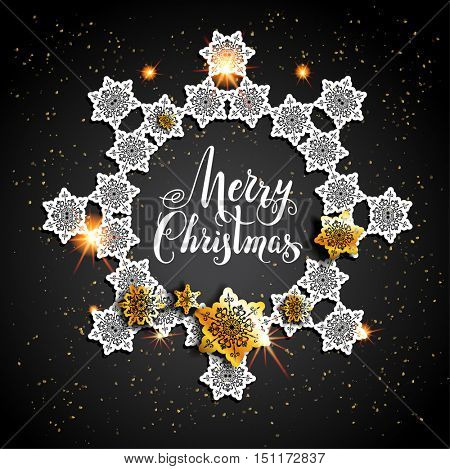 Card with gold snowflakes on black background