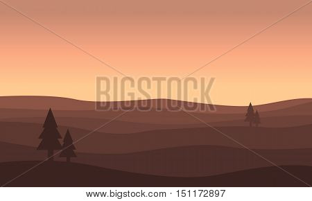 Landscape of hill silhouettes vector flat illustration