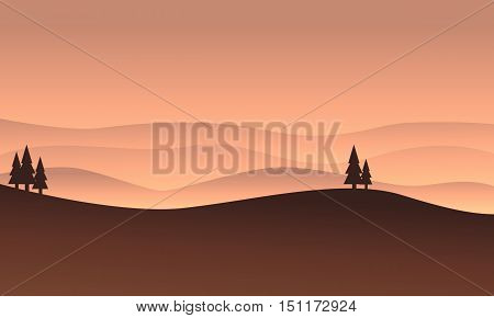 Silhouette of brown hills vector flat illustration