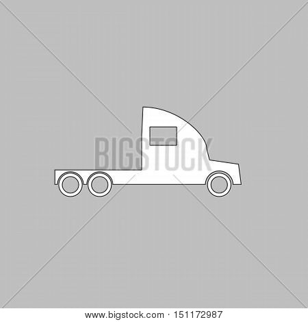 cargo truck Simple line vector button. Thin line illustration icon. White outline symbol on grey background