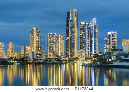 View of cityscape of Gold Coast, Australia with reflection at twilight