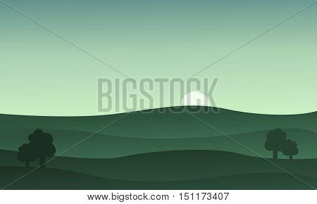 Landscape hills at the sunset vector illustration