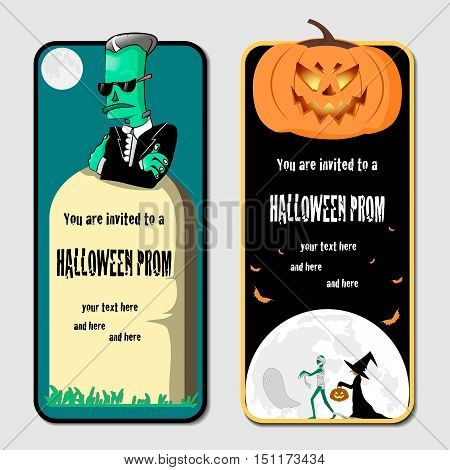 halloween prom cartoon vector invitations with funny characters