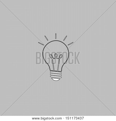 Light lamp Simple line vector button. Thin line illustration icon. White outline symbol on grey background