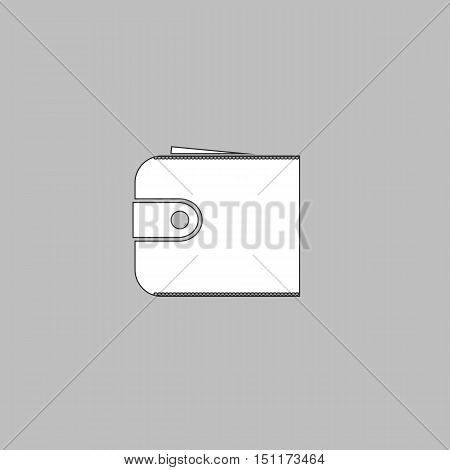 pouch Simple line vector button. Thin line illustration icon. White outline symbol on grey background