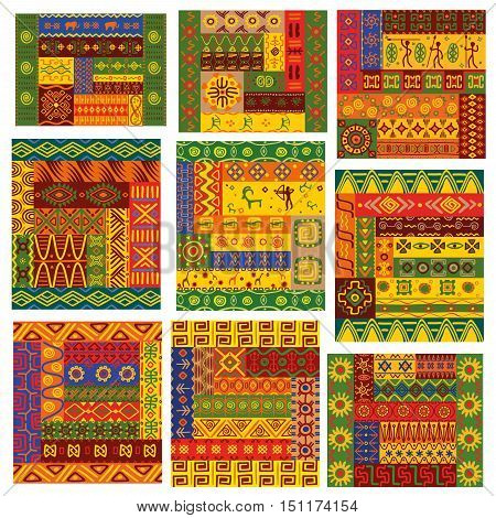 African patterns. Vector african ethnic ornaments with tribal and national pattern of stylized graphic elements of plants, flowers, human, anumals. Bright color geometric shapes for fabric, textile, tapestry decoration