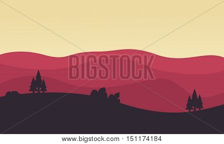 Silhouette of hill landscape vector flat illustration