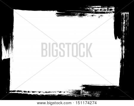 Dirty distressed paint brush abstract grunge frame