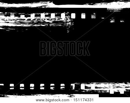 Dirty distressed paint brush abstract grunge frame with film strip