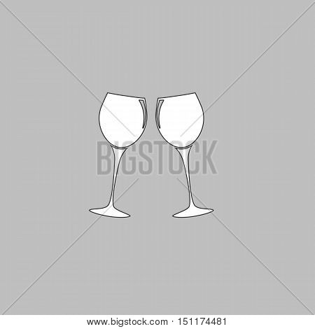 clink glasses Simple line vector button. Thin line illustration icon. White outline symbol on grey background