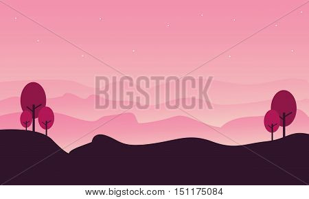 Silhouette of hill landscape with pink backgrounds illustration