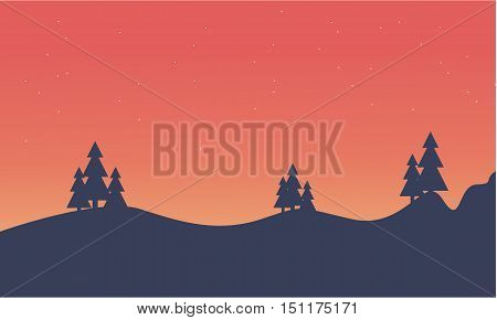 Silhouette of hill and spruce scenery vector illustration
