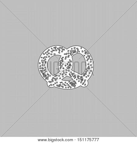 Pretzel Simple line vector button. Thin line illustration icon. White outline symbol on grey background